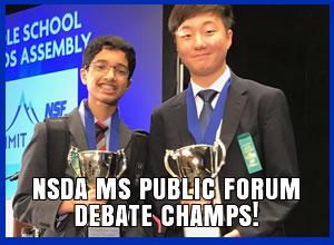 NSDA MS PF Debate Champions